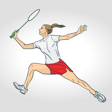 Professional female badminton player. Colorful hand drawn character