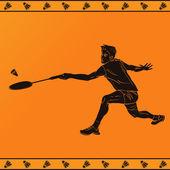 Fényképek Részletes sziluettje egy szakmai tollaslabda játékos ókori görög stílusban