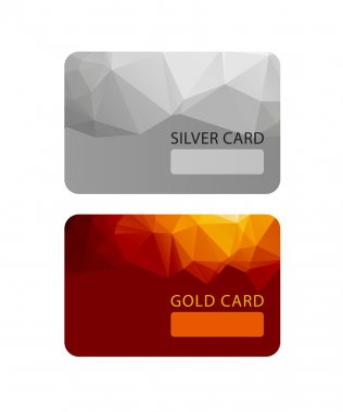 Gold and silver VIP premium member cards in polygonal style, gift, voucher, certificate