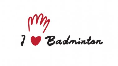 Hand drawn Badminton word, vector illustration