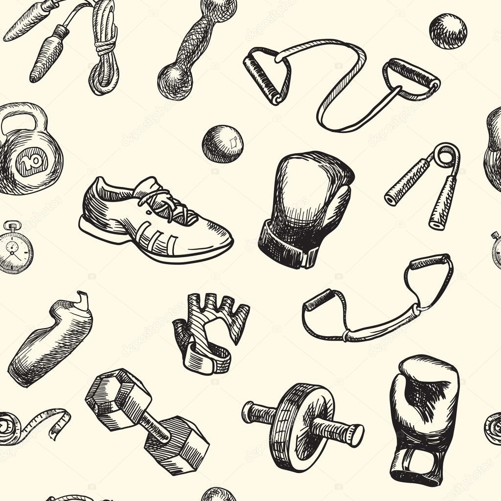 Fitness and gym doodle hand drawn pattern. Seamless vector background