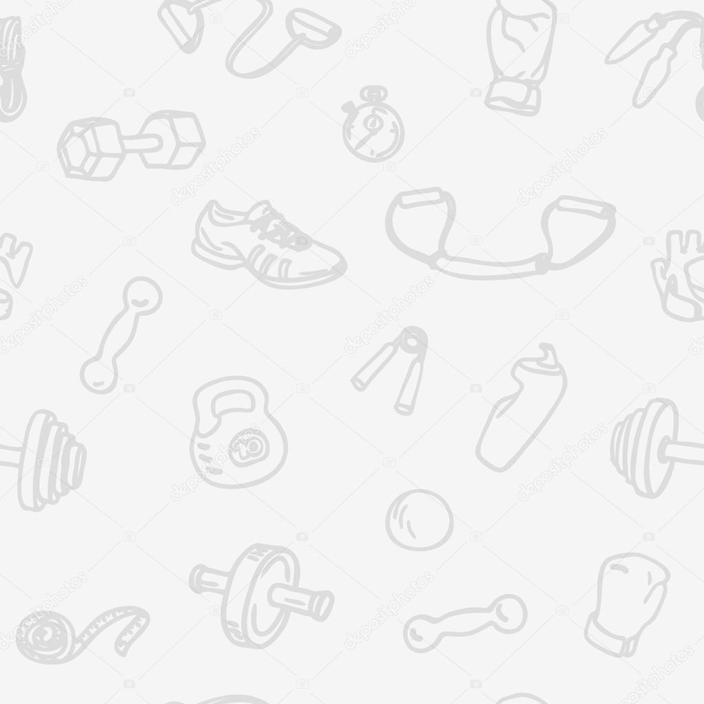Fitness and gym hand drawn seamless pattern. Light sports  vector background