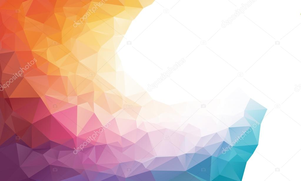 Colorful rainbow polygon background or frame