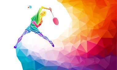 Badminton sport invitation poster or flyer background with empty space, banner template in trendy abstract colorful polygon style on rainbow back