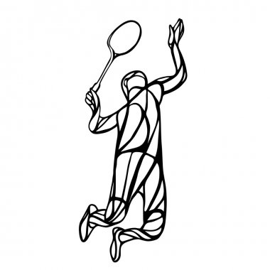 Creative silhouette of abstract badminton player