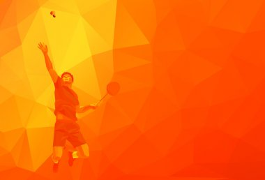 Polygonal professional badminton player on colorful low poly orange background doing smash shot with space for flyer, poster, web, leaflet, magazine. Vector illustration