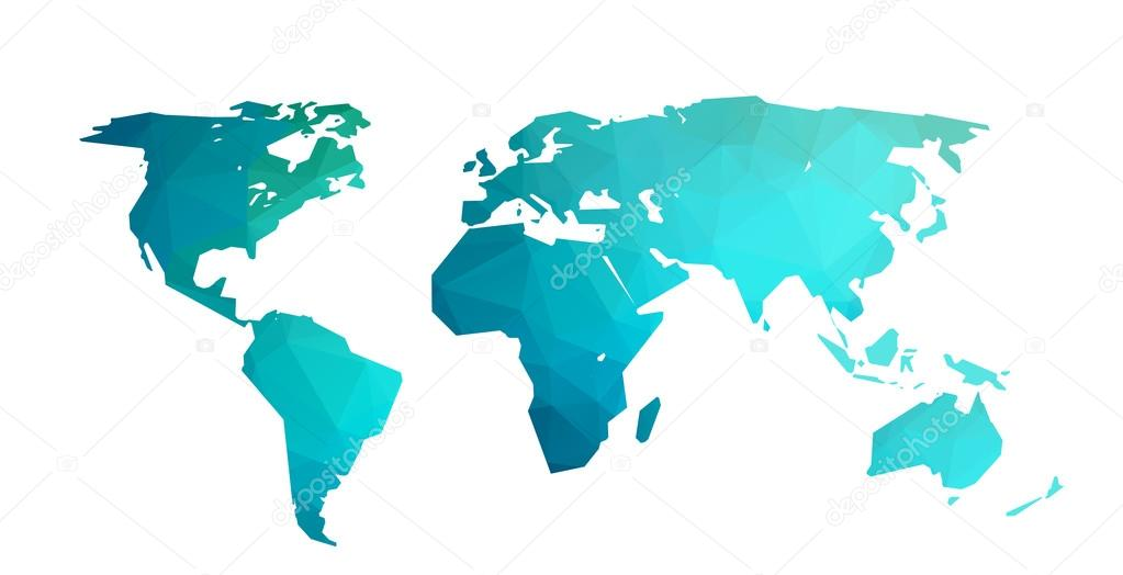 World map vector illustration in polygonal style