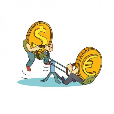 Concept drawing: high rate of Dollar compared with Euro. Euro and Dollar on teeter.