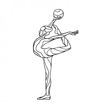 Creative silhouette of gymnastic girl. Art gymnastics with ball, vector illustration
