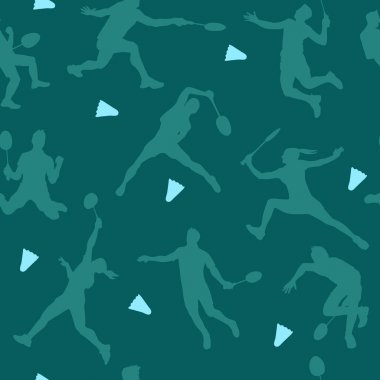Badminton sports pattern. Seamless vector background