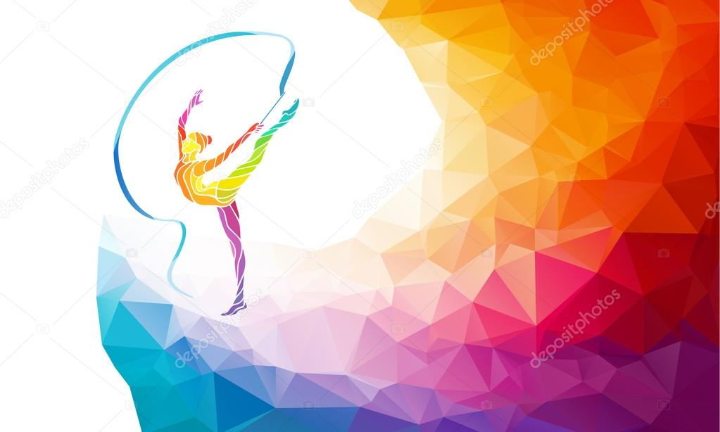 Creative silhouette of gymnastic girl. Art gymnastics with ribbon, vector illustration or banner template in trendy abstract colorful polygon style with rainbow back