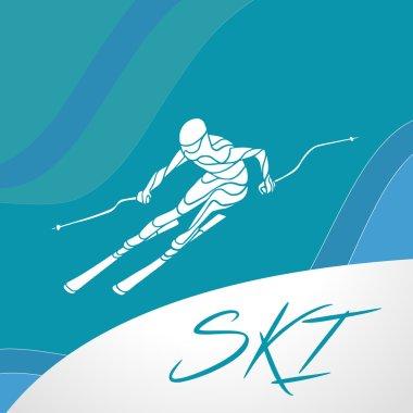 Ski downhill creative silhouette. Vector illustration