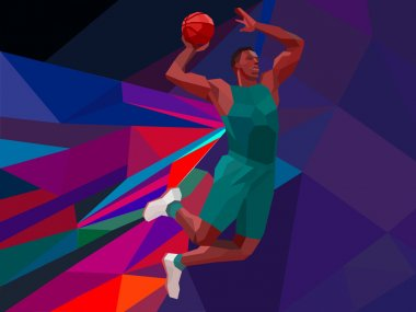 Polygonal geometric style illustration of a basketball player jump shot jumper shooting jumping viewed from the side set on colorful low poly background.