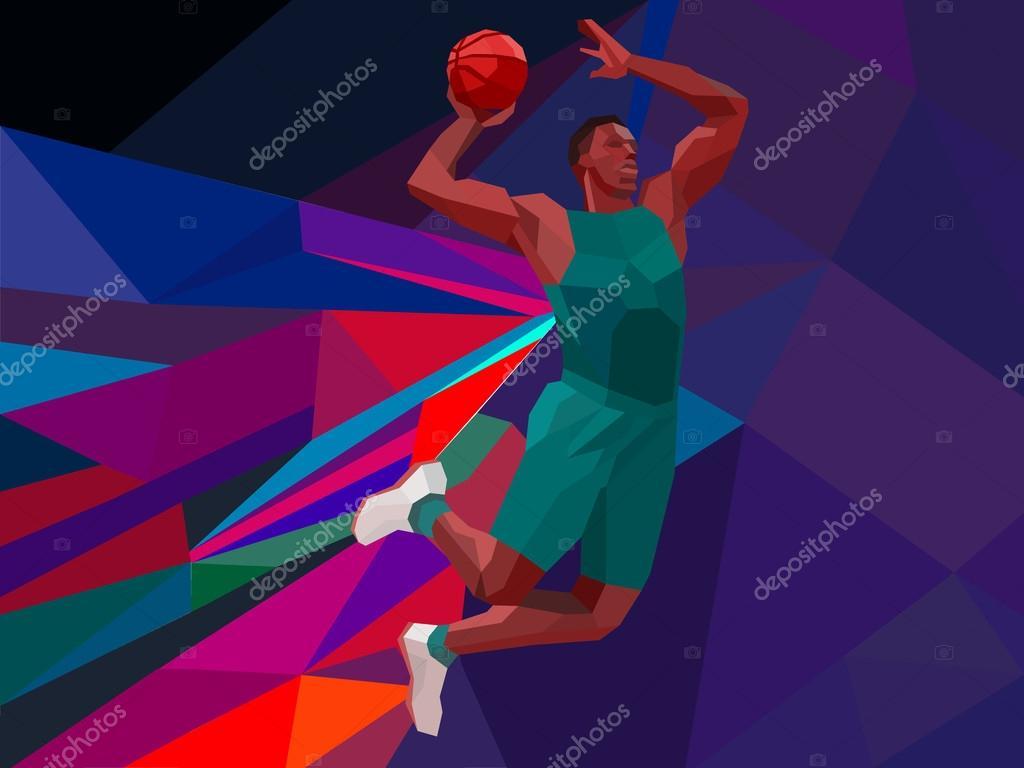 illustration de style géométrique polygonale de cavalier basket-ball ...