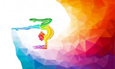 Creative silhouette of gymnastic girl. Art gymnastics with ball, vector illustration or banner template in trendy abstract colorful polygon style with rainbow back