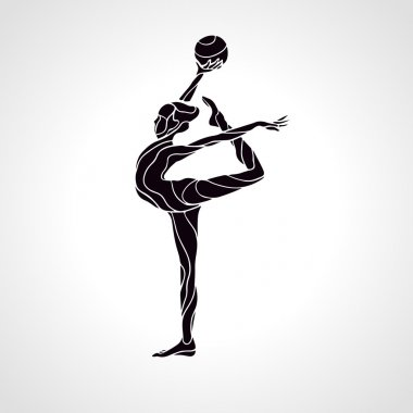 Creative silhouette of gymnastic girl. Art gymnastics with ball, vector illustration