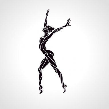 Creative silhouette of gymnastic girl. Art gymnastics, black and white vector illustration stock vector