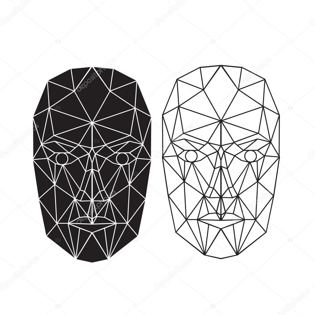 Triangle abstract human face, front view. Vector illustration