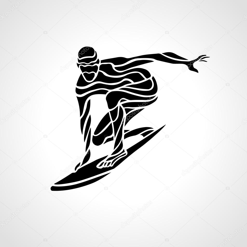 Creative silhouette of surfer