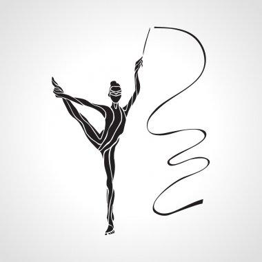 Creative silhouette of gymnastic girl. Art gymnastics with ribbon, vector illustration