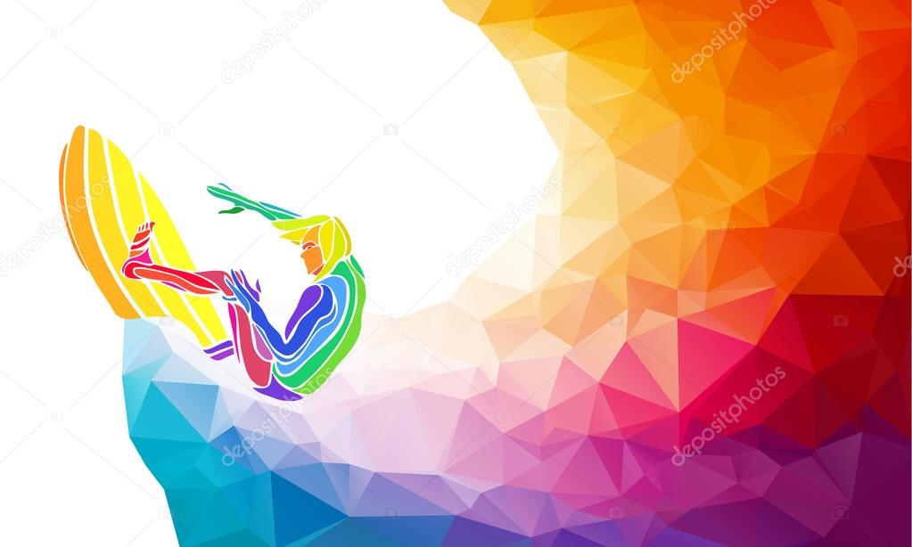 Creative silhouette of surfer. Fitness vector illustration or banner template in trendy abstract colorful polygon style with rainbow back
