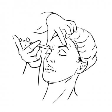 Cosmetic injection in the female face. Vector outline illustration