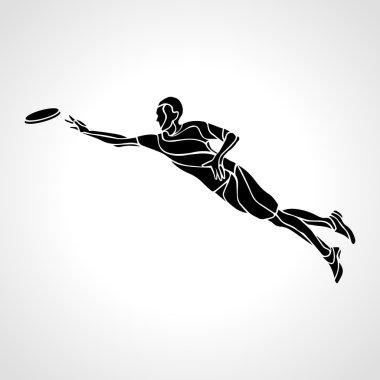 Sportsman throwing frisbee. Vector illustration