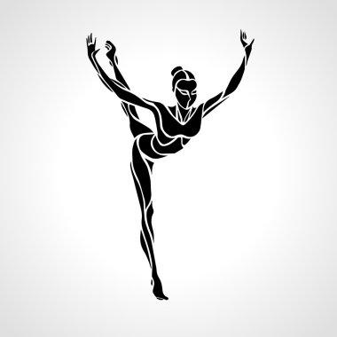 Silhouette of gymnastic girl. Art gymnastics dancing woman