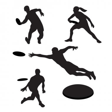 Men playing ultimate frisbee 4 silhouettes