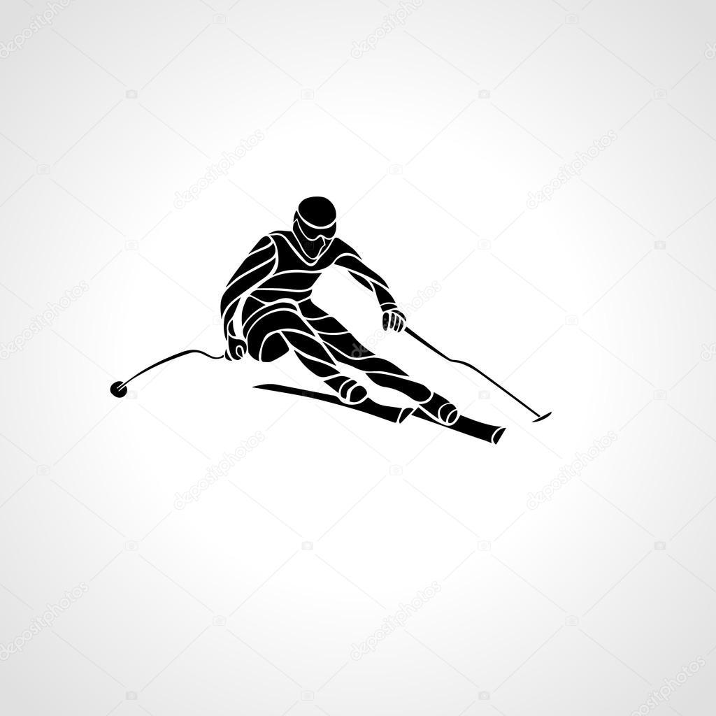 Giant Slalom Ski Racer silhouette. Vector illustration