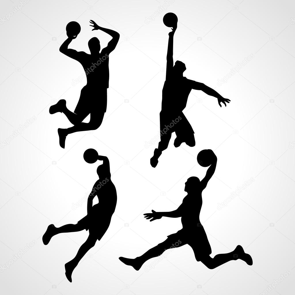 Basketball players collection vector