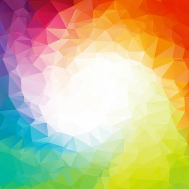 Abstract colorful swirl rainbow polygon around white Square background