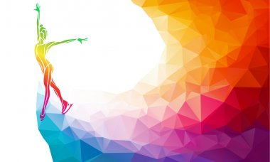 Creative silhouette of ice skating girl. Ice show, colorful vector illustration with background or banner template in trendy abstract colorful polygon style and rainbow back stock vector