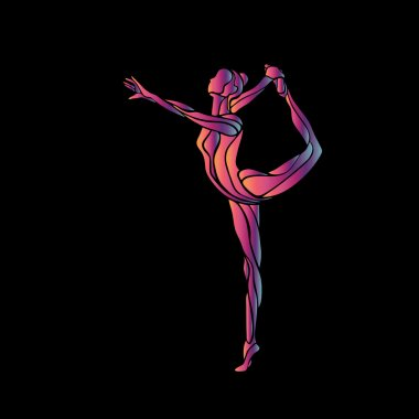 Creative silhouette of gymnastic girl. Art gymnastics