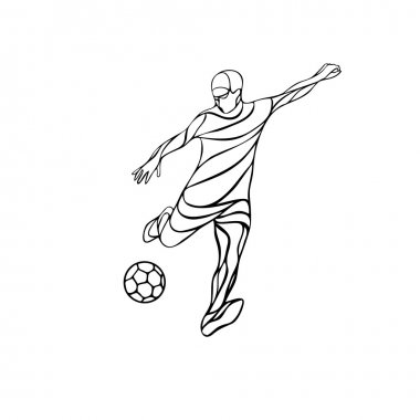 Soccer or football player kicks the ball. Abstract line art vector silhouette.
