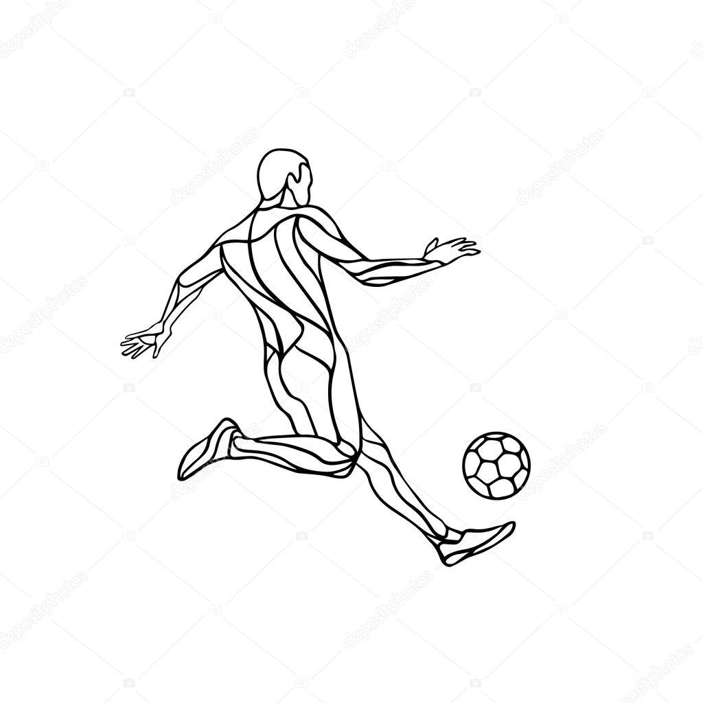 Jugador de fútbol o de fútbol patea la pelota. Silueta de vector de ...