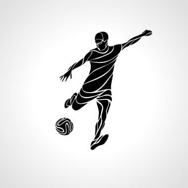 Soccer or football player kicks the ball. Vector silhouette