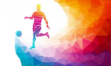 Creative silhouette of soccer player. Football player kicks the ball in trendy abstract colorful polygon style with rainbow back