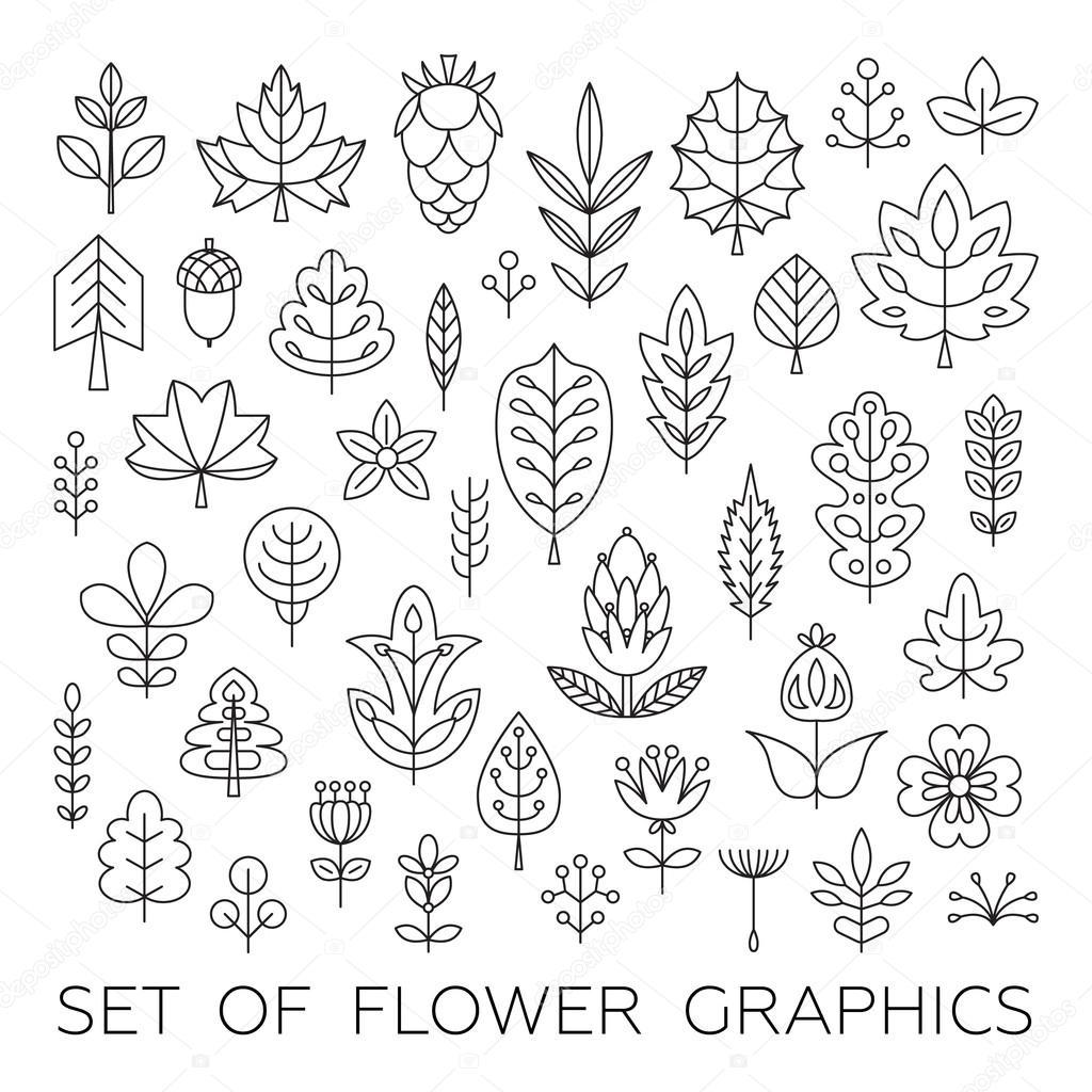 Set of Geometrical leaves, trees and flowers.