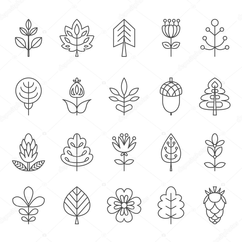 Set of outline stroke icons with tress, leaves and flowers.