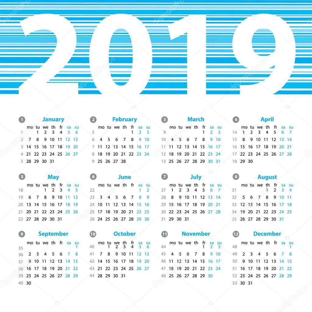 Calendario 2019 Con Numero Week.Calendar 2019 Year Vector Design Template With Week Numbers