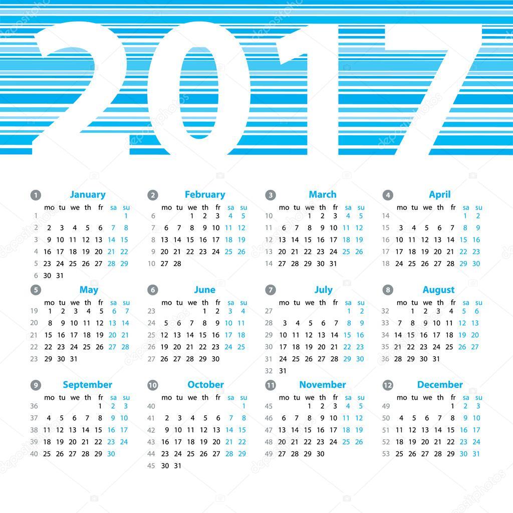 weekly number calendar 2017