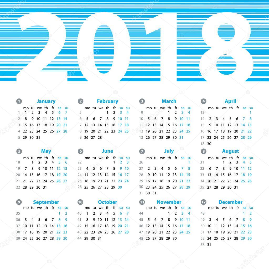 Kalendarz 2018 Rok Wektor Szablon Projektu Z Numery Tygodni I