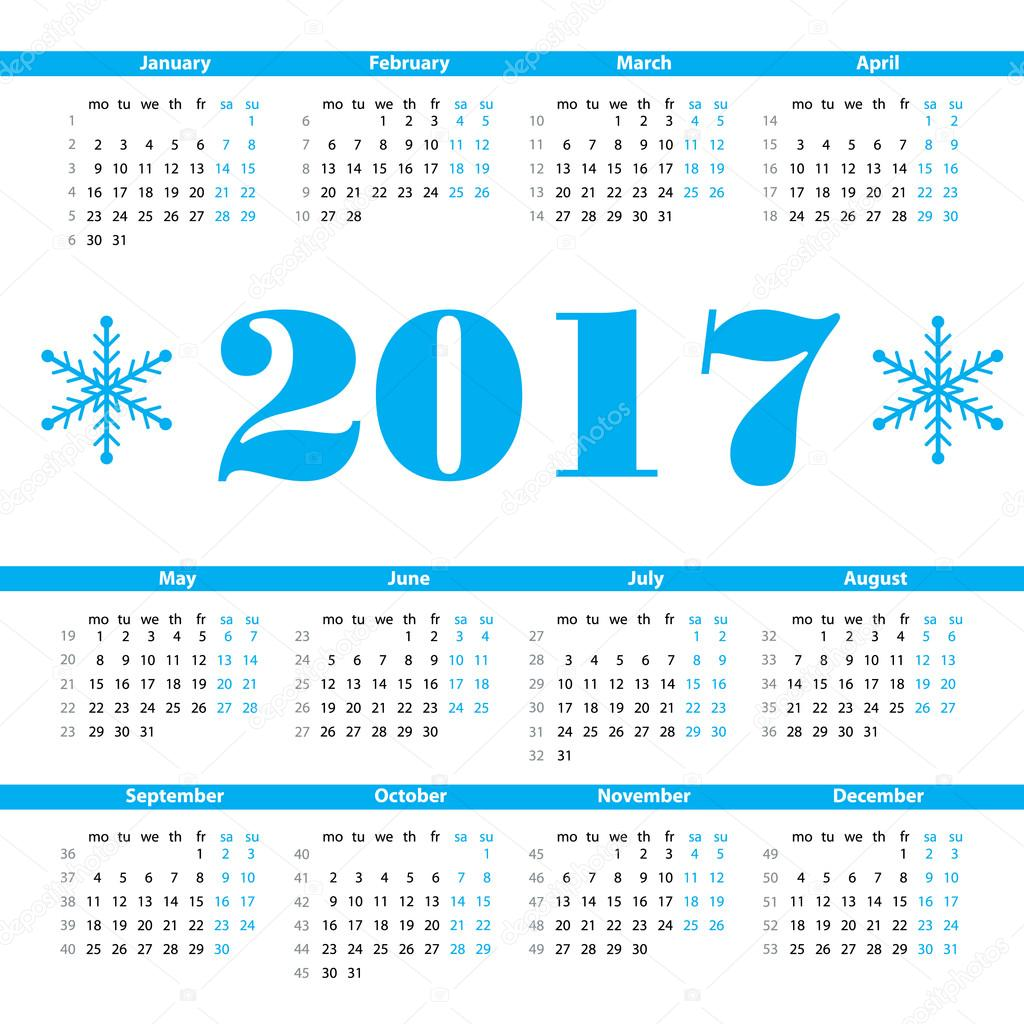 Modelo de design do calendário 2017 ano vetor com números de semana e —  Vetores de Stock