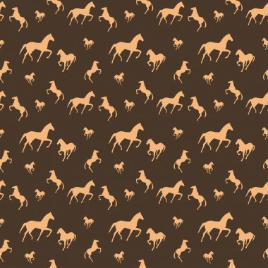 Brown horses seamless pattern