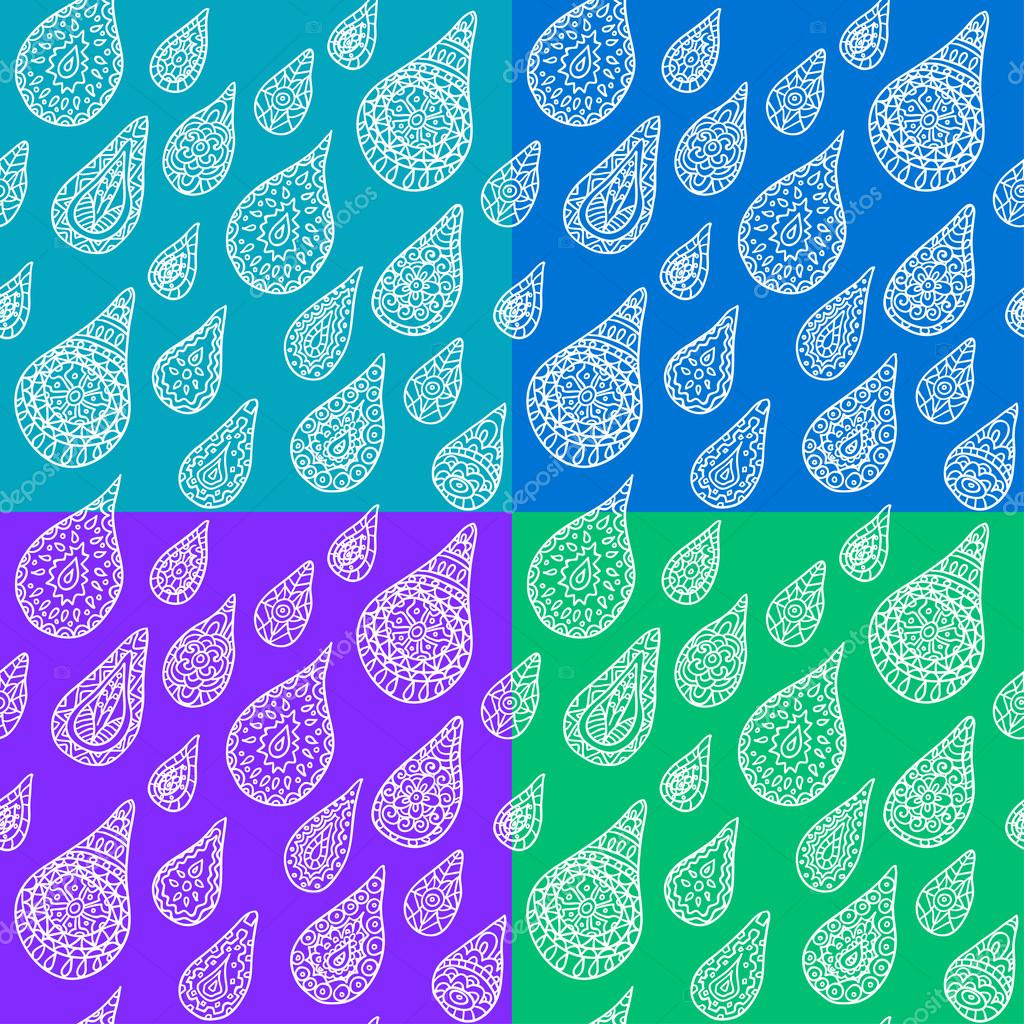 Seamless pattern with hand drawn drops, vector illustration