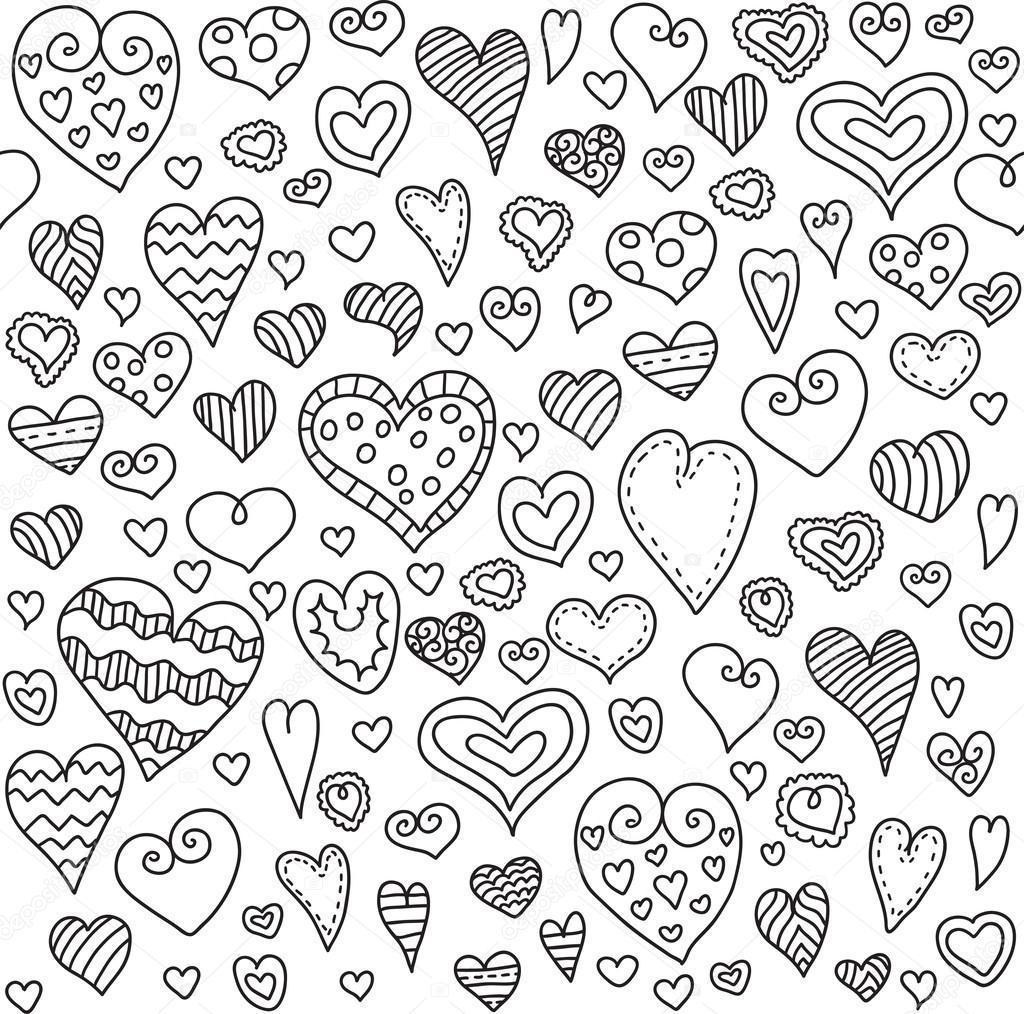 Love hearts seamless pattern doodle heart romantic - Papel decorativo infantil ...