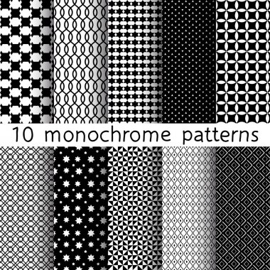 10 Monochrome different vector seamless patterns. Set of black and white geometric ornaments. Endless texture can be used for wallpaper, pattern fills, web page background, surface textures.