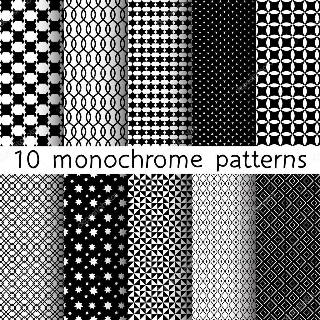 10 Monochrome different vector seamless patterns. Set of black and white geometric ornaments. Endless texture can be used for wallpaper, pattern fills, web page background, surface textures. stock vector