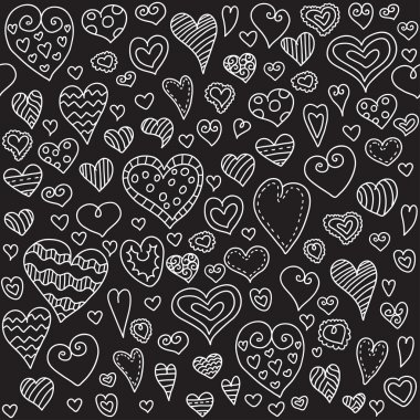 Love hearts seamless pattern. Doodle heart. Romantic background. Valentines day background for invitation. clip art vector